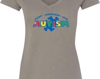 Ladies Autism Accept Understand Love V-Neck Shirt XIT-13562-N1540