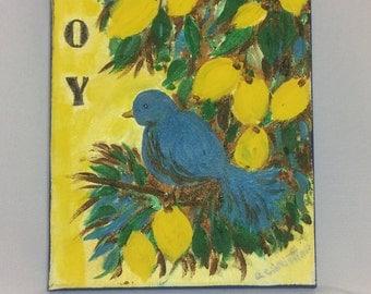 Blue Bird in a Lemon Tree acrylic painting