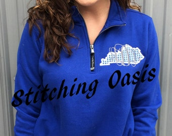 Monogrammed Kentucky Appliqued Charles River 1/4 Zip Sweatshirt