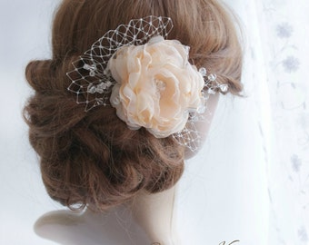 Peach Flower Hair Piece, Organza Floral Hair Clip, Peachy Bridal Hair Flower, Wedding Flower Head Piece