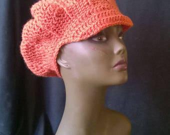 Pumpkin Orange Hand Crocheted Slouchy Pumpkin Newsboy Cap Cabbie Hat Beanie Tam Beret