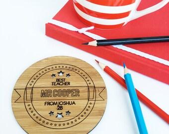 Personalised Best Teacher Drink Coaster