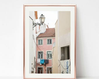 Blush Art Decor, Travel Photography, Rose Gold Art, Building Prints Decor, Gallery Wall Prints, Lisbon Portugal