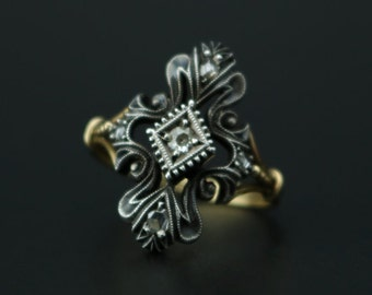 Antique 18k Yellow Gold and Silver Diamond Ring Alternative Engagement