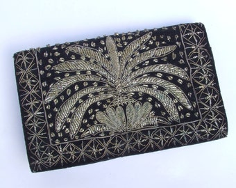 Vintage Indian Black Velvet Clutch Bag with Zardozi Embroidery - 1940's Silver & Gold Wire Work Decoration, Evening Purses and Bags