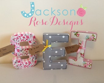 Single personalised padded fabric letter, bedrooms, nurseries, new baby gift