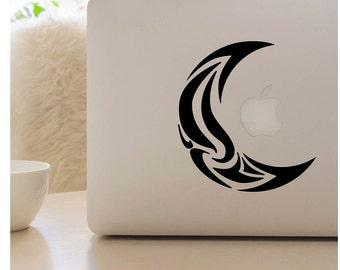 Tribal moon decal, moon laptop sticker, laptop decal, moon laptop decal, laptop skin, mon decal, vinyl window sticker, coffee mug decal
