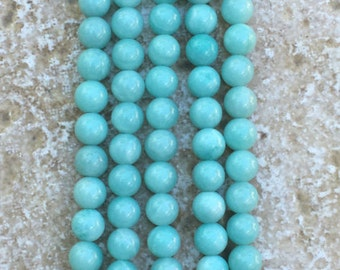 "6mm Amazonite Beads - FULL 16"" strand of Mint Green Amazonite Beads, 6mm Sea Foam Green smooth round beads - (about 66 beads) - G1037"