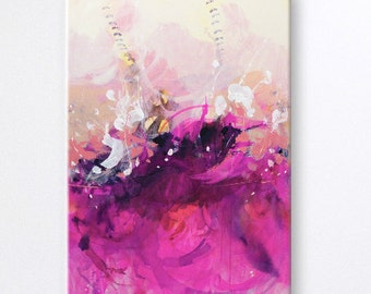 Pink Abstract painting Contemporary Wall Art Abstract with White Color Acrylic painting Modern Art Work Landscape paintings
