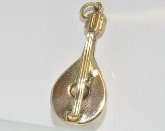 9ct yellow gold mandolin charm London 1967