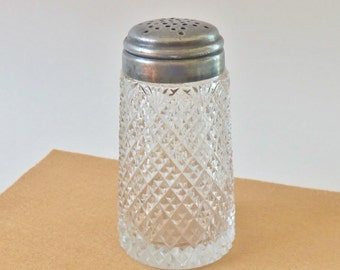 Vintage Cut Glass Muffineer with Pewter Lid - 4 Inch Sugar Shaker for Fruit or Dessert - Pewter Neck Band and Twist-On Shaker Top