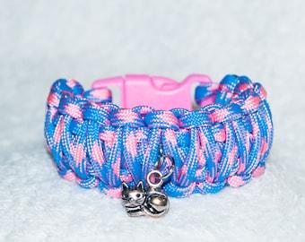 Kitten Bracelet, Kids Cat Bracelet, Childs Bracelet, Kitty Cat, Sleeping Cat, Paracord Bracelet, Gift for Kids, Girl Bracelet, Cute Cats