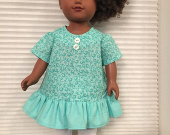 "18"" Doll Clothes, Teal Tunic and White Leggings"