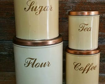 Vintage Decoware Metal Canister Set, Mid Century 4 Piece Canister Set, 1950's Kitchen Decor