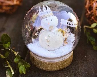 Snowman Snow globe, Custom Christmas Decoration, Family Ornament,  Waterless Globe, Snow Dome,  Personalization Ornament Gift