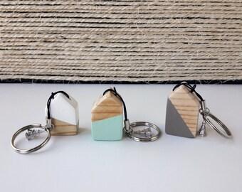 Keychain wooden house   Little wooden house keychain   Handmade   White   Mint   Grey