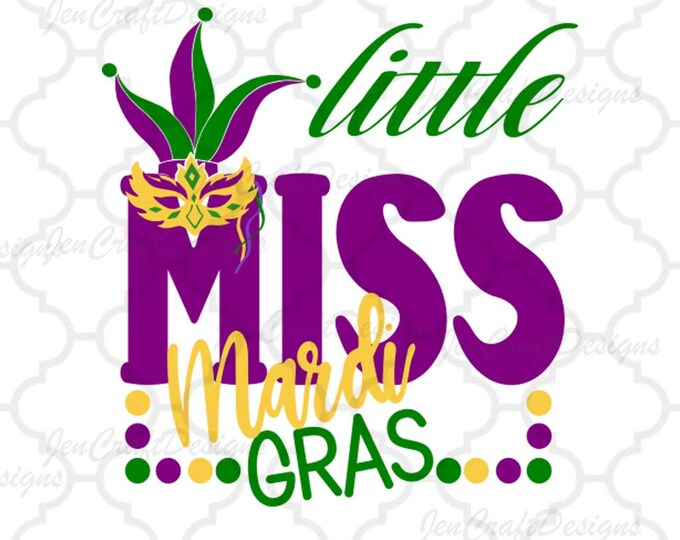 Featured listing image: Little Miss Mardi Gras Svg Mardi Gras SVG Jester Crown New Orleans Svg Cuttable Design SVG EPS Png Dxf Cricut Silhouette Cut File Printable