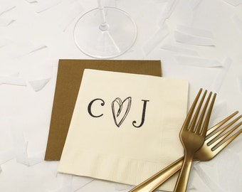 Rustic Wedding Napkins - Personalized Napkins - Monogram Napkins - Cocktail Napkins - Bachelorette Napkins - Wedding Napkins - Wedding Decor