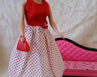Vintage Barbie Reproduction Red Dots Dress