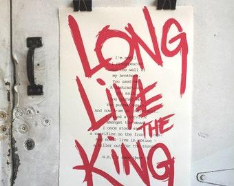 Long Live The King, Chess Poster, Endgame Screenprint, A Pawn Upon Us, Wall Art, Silkscreen Print, Chess Decor