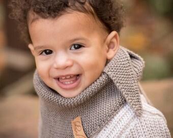Knitted Kids Scarf, Toddler Boy Knit scarf, Baby Boy Warm Scarf, Hand Knitted Kids Triangle Scarf, Wool Kids Scarf, Winter Kids Scarf