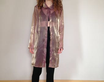 RESERVED gold shimmery duster blouse (s/m/l)