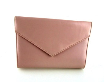 Pink Clutch With Shoulder Strap, Pink Women's Handbag Shoulder Bag 1970s