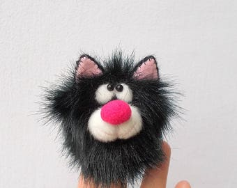 Black kitten. Tiny cat. Thimble. Penlight theatre. Finger puppets. Little animal.