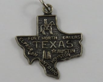 Map of Texas State Sterling Silver Vintage Charm For Bracelet
