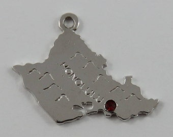 Map of Oahu Honolulu With Red Stone Sterling Silver Vintage Charm For Bracelet