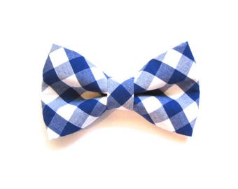 Royal Blue Gingham Check Dog Bow Tie