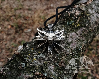 Witcher Pendant Sterling Silver  Geralt  Medallion Wolf  Pendant Witcher Medallion