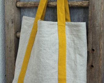 Natural linen handmade market tote bag with pockets