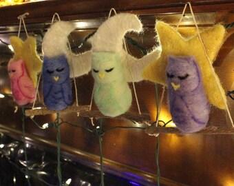 Sweet needlefelted Sleepy Owl Ornaments, Owl Christmas Ornaments, Owls Star Moon Ornaments, Felt Christmas ornaments