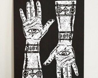 All Seeing Eye Hand A3 Screenprint - Hands, tattoo, eye, arm, symbols, all seeing eye