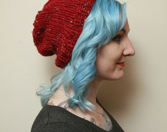 Red Beanie Knit Hat with multi-colored flecks