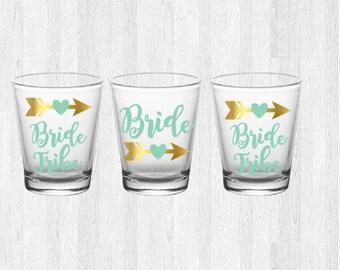 Bride Tribe Shot Glass, Bachelorette Party Shot Glass, Custom Shot Glass, Boho Shot Glass, Bride Shot Glass, ArrowShotGlass, Bride Maid Gift