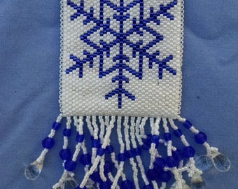 Beaded Snowflake Peyote Pouch Necklace
