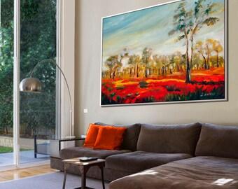 Large Canvas Art, Large Wall Art, Contemporary Art, Oil Painting, Extra Large Wall Art, Paintings on Canvas, Landscape Painting
