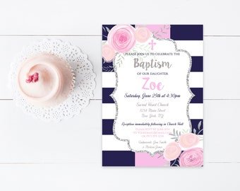 Navy & White Stripe Floral Printable Baptism Christening Invitation, Flower Baptism Christening Invite, 4x6 or 5x7- Digital File