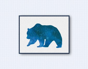 Grizzly Bear Watercolor Poster