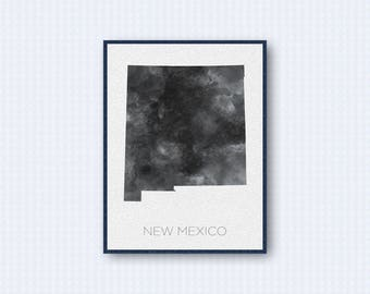 New Mexico Map Watercolor Poster, United States Map Print, Gray Version