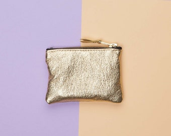 Gold Leather Coin Purse // Metallic Leather Coin Pouch // Leather Bag //Leather Change Purse  // Custom Monogram // Small Leather Bag