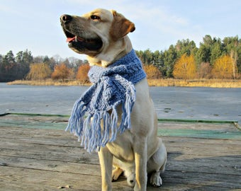 Knit dog scarf for big dog accessories Blue dog scarf for large dogs Pet Neckwear Dog scarves Crochet dog scarf for labrador neck warmer