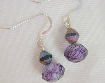 Purple Grape Lavender Glass Beaded Dangle Sterling Earrings