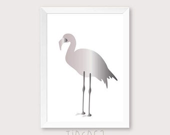 Flamingo wall art, Flamingo art print, Flamingo Printable art, Silver Animal poster, animal art print, art digital print.