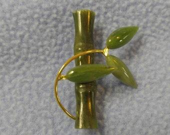 Vintage Jade Bamboo Design Pin