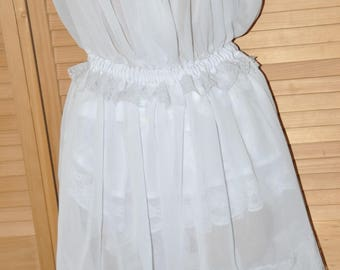 TO ORDER - Sheer white Sissy Delights (SD) dress, white lace, Adult size, Sissy Lingerie