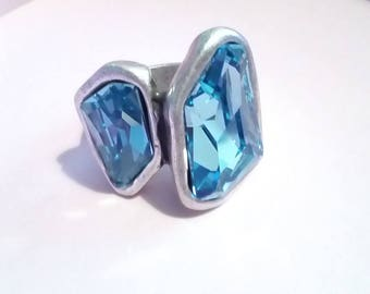 One of 50 style ring adjustable zamak swarovski AQUAMARINE, size 16