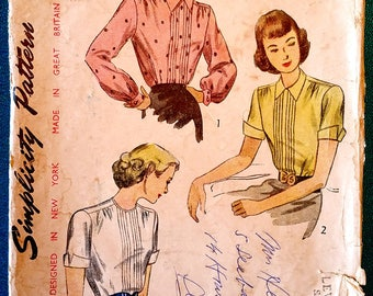 "Vintage 1940's blouse with tucks button back sewing pattern - Simplicity 2224 - plus size 18 (36"" bust, 30"" waist, 39"" hip) - 1947"